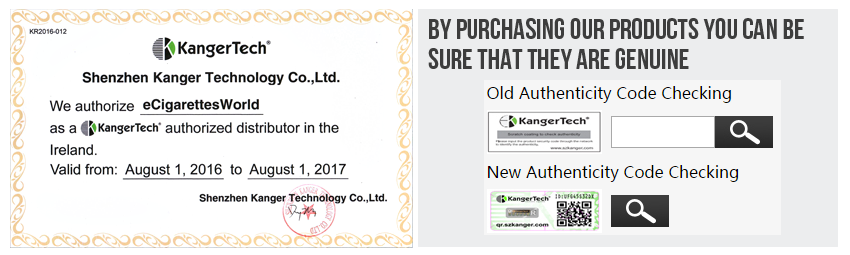 eCigarettes World KangerTech Distributor Authenticity Code Checking
