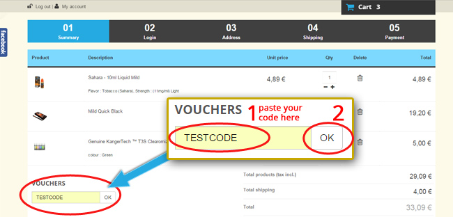 Instruction to order with voucher