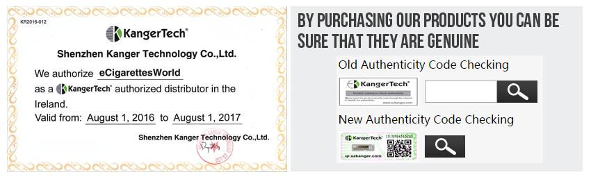 eCigarettes World KangerTech Distributor Authenticity Code Checking